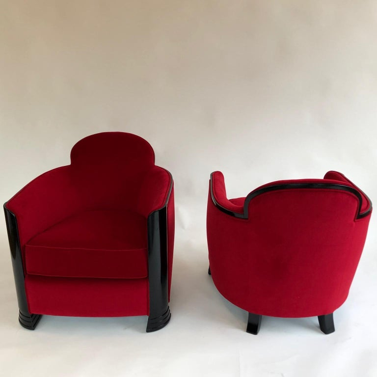 Velvet Black and Red Art Deco Modernist Pair of Armchairs, Club Chairs, France, 1930s For Sale
