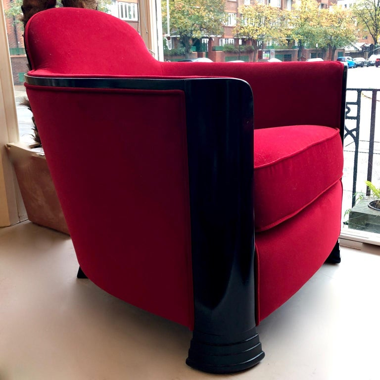 Black and Red Art Deco Modernist Pair of Armchairs, Club Chairs, France, 1930s For Sale 1