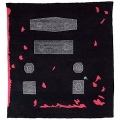Black and Red Flat-Weave Wool Tapestry/Carpet by Sarah Entwistle