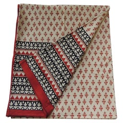 Black and Rust Hand-Blocked Indian Coverlet
