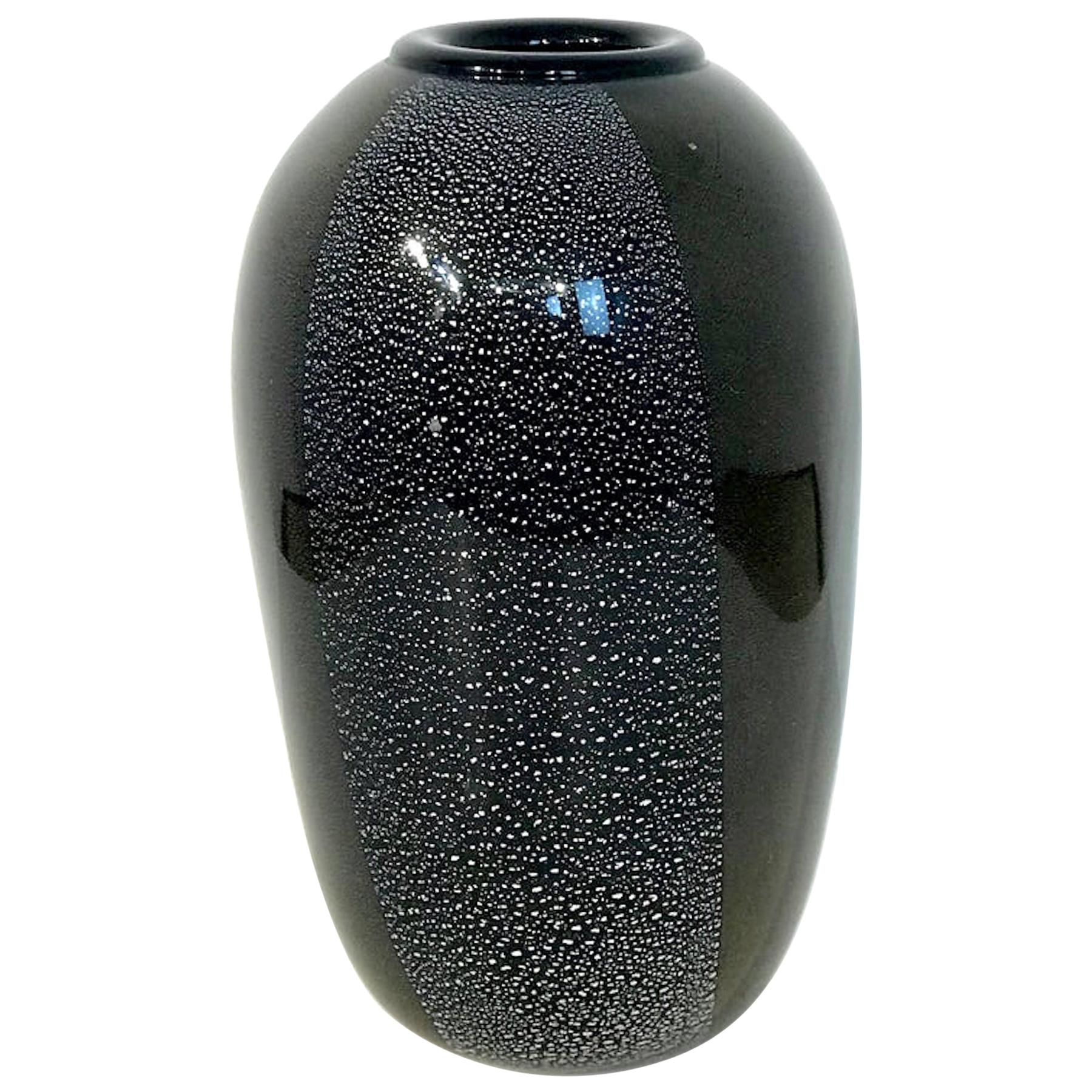 Black and Silver Murano Glass Vase, by Ghisetti Murano