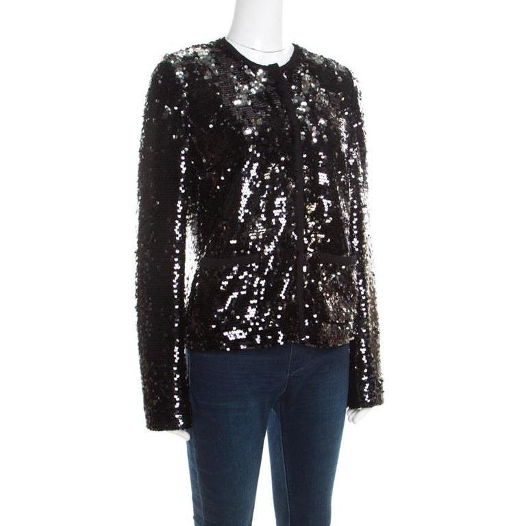 Black and Silver Sequin Pailette Embellished Frayed Trim Jacket M In Good Condition For Sale In Dubai, Al Qouz 2