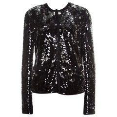 Black and Silver Sequin Pailette Embellished Frayed Trim Jacket M