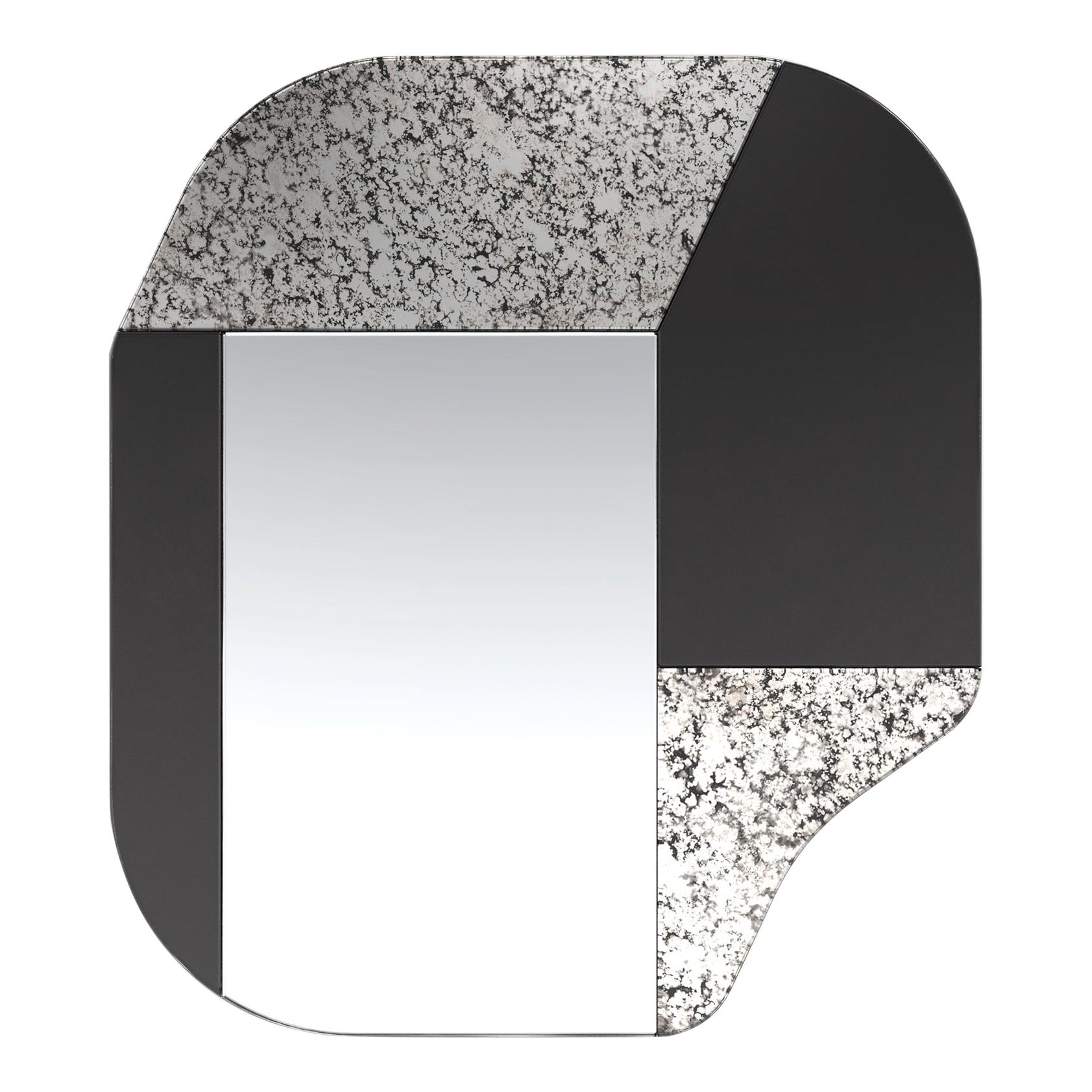 Black and Speckled WG.C1.A Hand-Crafted Wall Mirror
