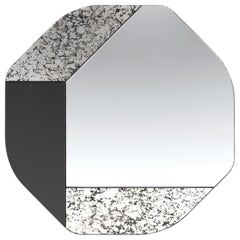 Black and Speckled WG.C1.B Hand-Crafted Wall Mirror