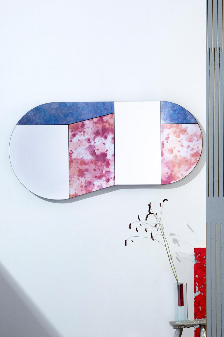 Dyed Black and Speckled WG.C1.C Hand-Crafted Wall Mirror For Sale