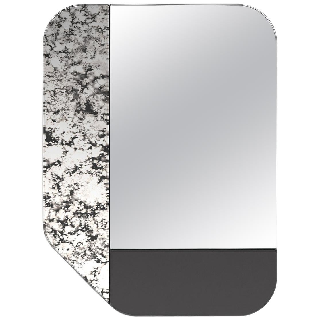 Black and Speckled WG.C1.F Hand-Crafted Wall Mirror