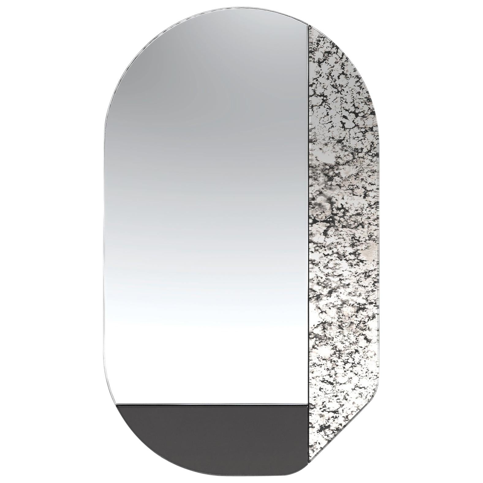 Black and Speckled WG.C1.G Hand-Crafted Wall Mirror