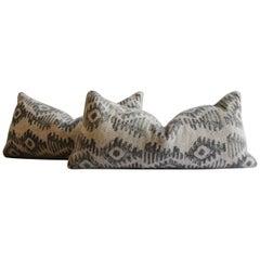 Black and Tan Printed Wool Lumbar Pillows