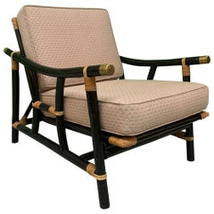 Black and Tan Rattan Lounge Chair