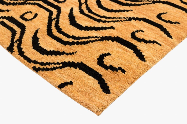 Nepalese Black and Tan Wool Tibetan Tiger Area Rug For Sale