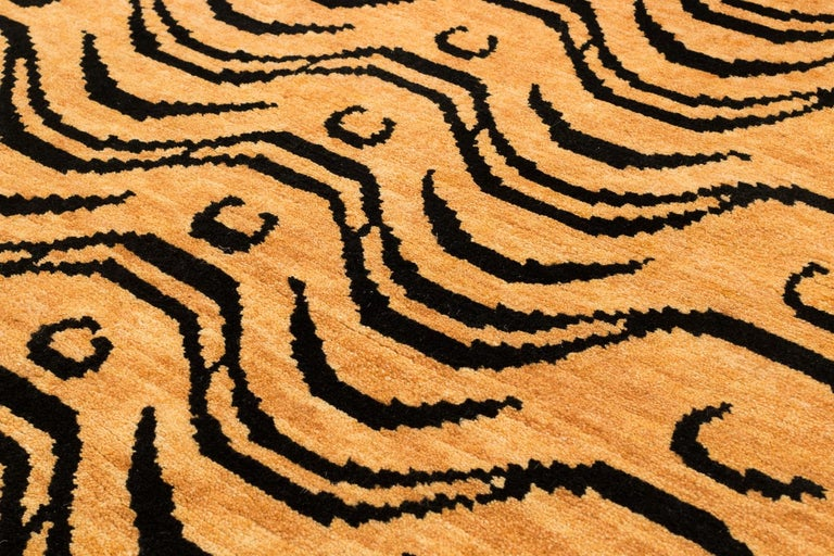 Hand-Woven Black and Tan Wool Tibetan Tiger Area Rug For Sale