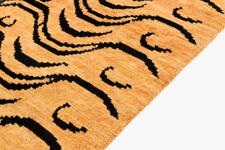 Black and Tan Wool Tibetan Tiger Area Rug In New Condition For Sale In New York, NY