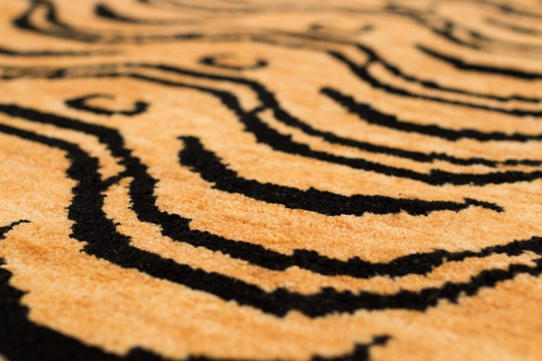 Contemporary Black and Tan Wool Tibetan Tiger Area Rug For Sale