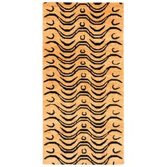 Black and Tan Wool Tibetan Tiger Area Rug