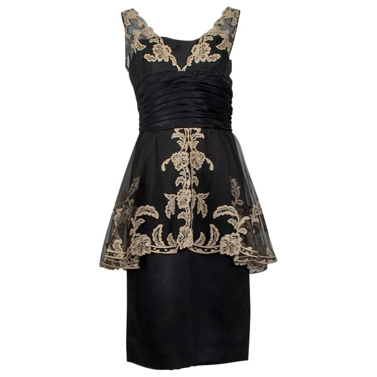 Black and Taupe Café Society Painted Lace Split Peplum Cummerbund Dress-S, 1950s For Sale