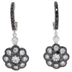 Black and White 2.21 Carat Diamond Drop Earrings