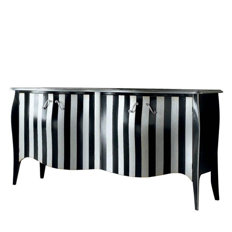 Black and White Four-Door Sideboard