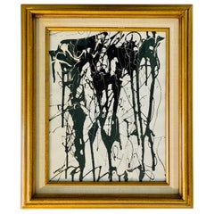 Mid-Century Black and White Abstract Enamel Original Signed Painting 1973