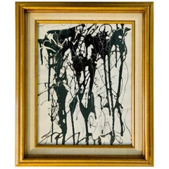 Black and White Abstract Enamel Original Signed Painting Midcentury, 1973