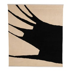 Black and White Abstract Wool Wall Tapestry by Jan van den Bergh, 1977