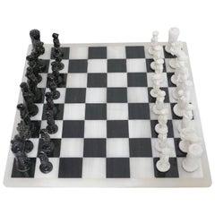 Black and White Alabaster Checker / Chess Game Board, English, circa 1930