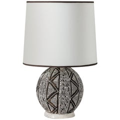 black and white art deco Africanist Ceramic table Lamp Attributed to Primavera