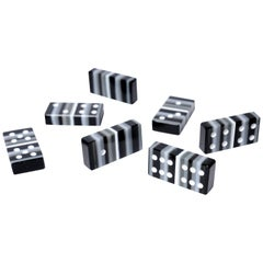 Black and White Art Glass Domino Barcode Collection with Wood Case