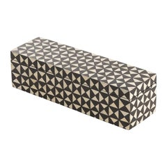 Black and White Bone Mosaic Pattern Lidded Box, Indonesia, Contemporary