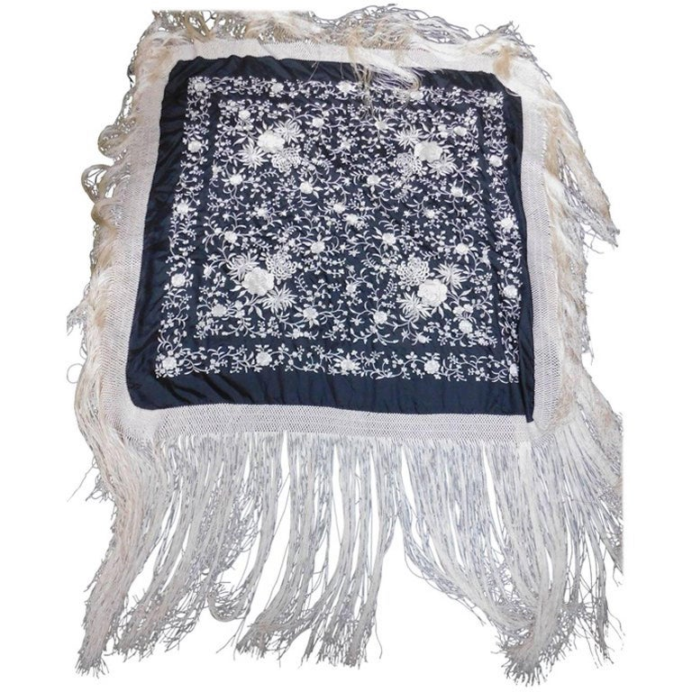 Gray Black and White Cantonese Silk Embroidered Shawl with Long Fringe circa 1920 For Sale