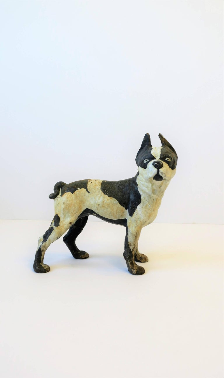 American Black and White Cast Iron Boston Terrier Dog Sculpture or Doorstop For Sale