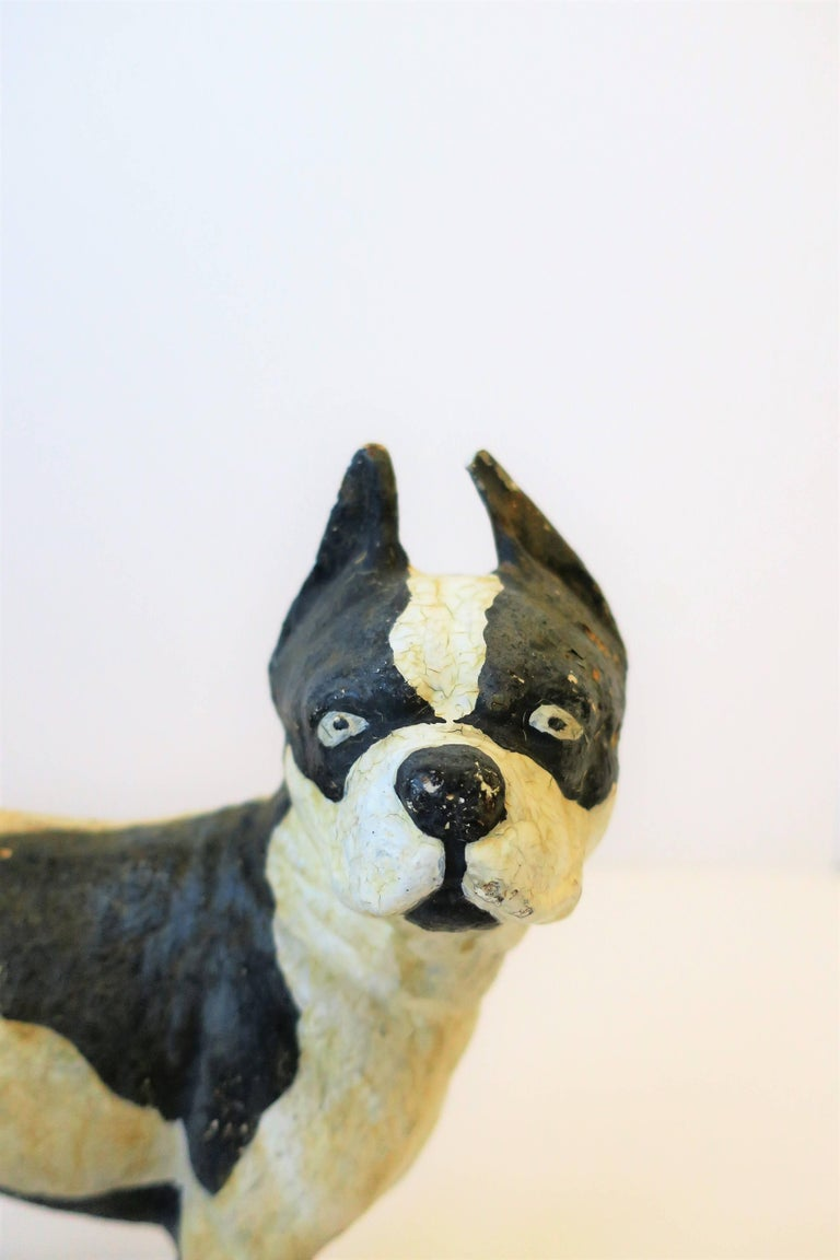 Black and White Cast Iron Boston Terrier Dog Sculpture or Doorstop In Good Condition For Sale In New York, NY