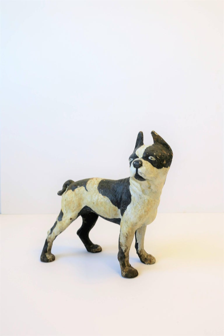 Mid-20th Century Black and White Cast Iron Boston Terrier Dog Sculpture or Doorstop For Sale