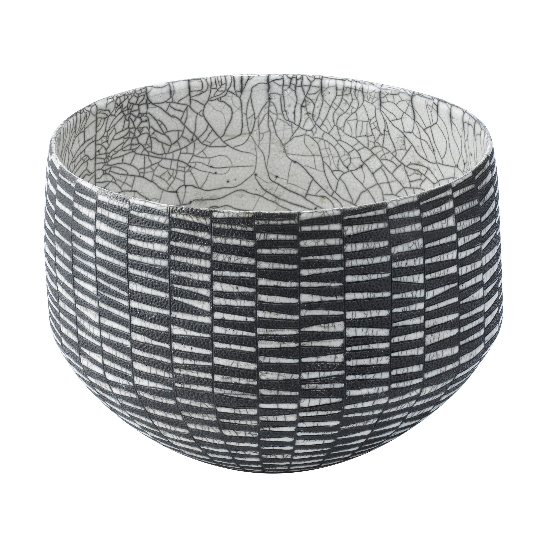Black and White Ceramic Bowl, Coupe Art Deco