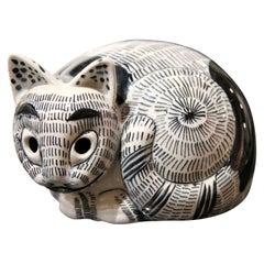 Black and White Ceramic Mancioli Italian Cat