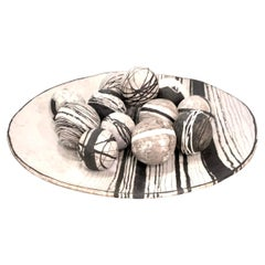 Black and White Ceramic Plate and Balls by Ceramicist Brenda Holzke, American