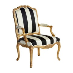 Black and White Chair with Armrests Louis XV
