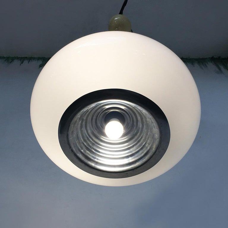 Early 17th Century Black and White Chandelier by Achille and Piergiacomo Castiglioni for Flos, 1965 For Sale