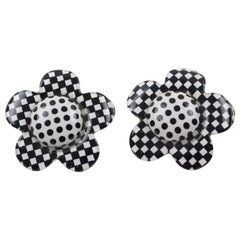 Black and White Checkerboard Lucite Clip Earrings Daisy Flower