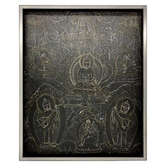 Black and White Chinese Mandala with Scenes of Buddha
