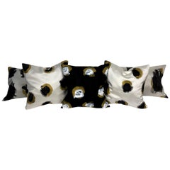 Black and White Circular Brush-Stroked Hand Painted Throw Pillows