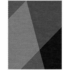 Black and White Contemporary Wool Area Rug