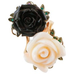 Black and White Coral, Emeralds, Rubies, 9 Karat Rose Gold and Silver Retro Ring