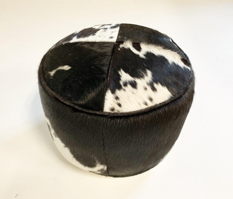 Contemporary Black and White Cowhide Pouf Ottoman For Sale