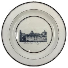 Black and White Creamware Castel Sant Angelo Plate