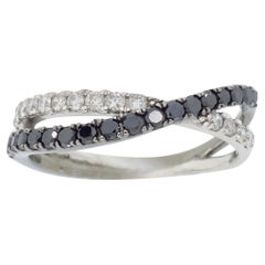 Black and White Crossover Diamond Ring