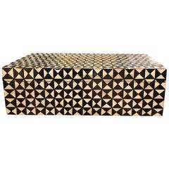 Black and White Decorative Bone Box, Indonesian, Contemporary