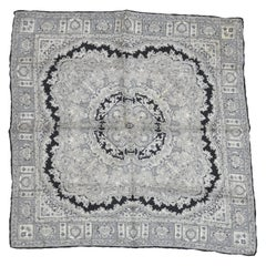 Black and White Detailed Silk Men's Handkerchief