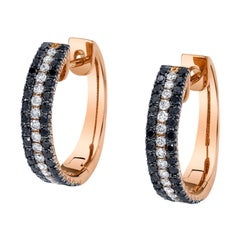 Black and White Diamond 14 Karat Rose Gold Hoop Earrings