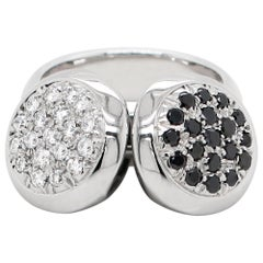 Black and White Diamond 18 Carat White Gold Dangling Charms Cocktail Ring